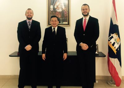 CEO Giorgio Cafiero (right) with Dustin Manapan, Ambassador of Thailand to Kuwait (centre)